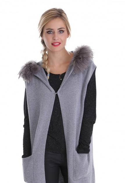 Gilet laine femme oakwood September 62146 gris clair