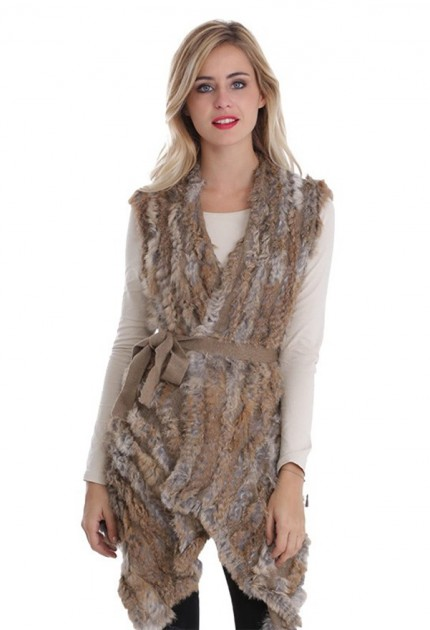 Gilet long fourrure lapin MonCuir beige