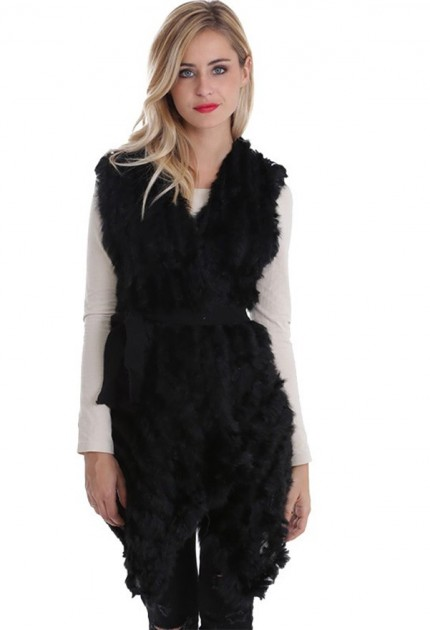 Gilet long fourrure lapin MonCuir noir