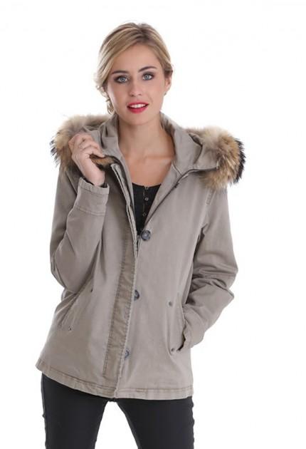 Manteau coton femme oakwood chiara 61600 kaki