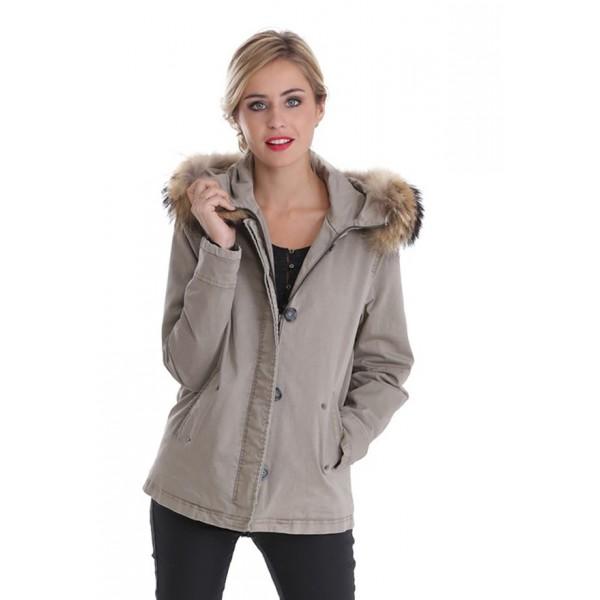 Manteau coton femme oakwood chiara 61600 kaki 59e12bc99bb7