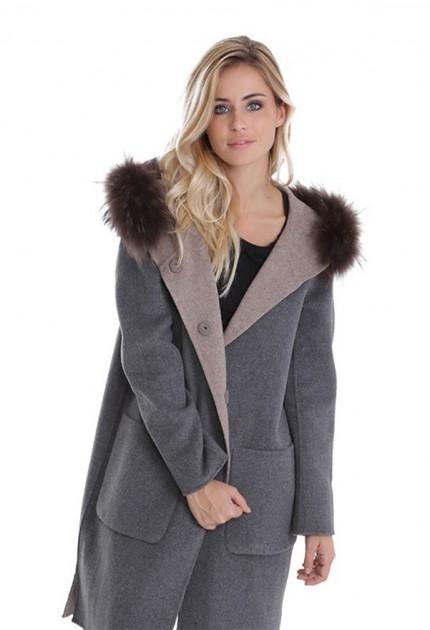 Manteau en laine reversible Oakwood Yale Bi beige et gris