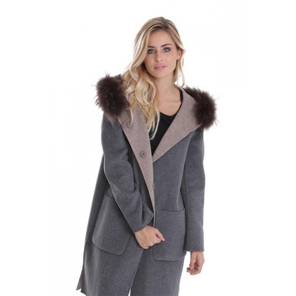 8b970ca23 Manteau en laine reversible Oakwood Yale Bi beige et gris
