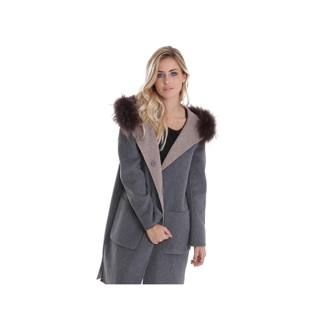 manteau laine reversible oakwood yale bi beige gris. Black Bedroom Furniture Sets. Home Design Ideas