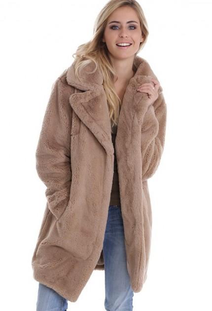 Manteau fausse fourrure femme Oakwood stereo beige