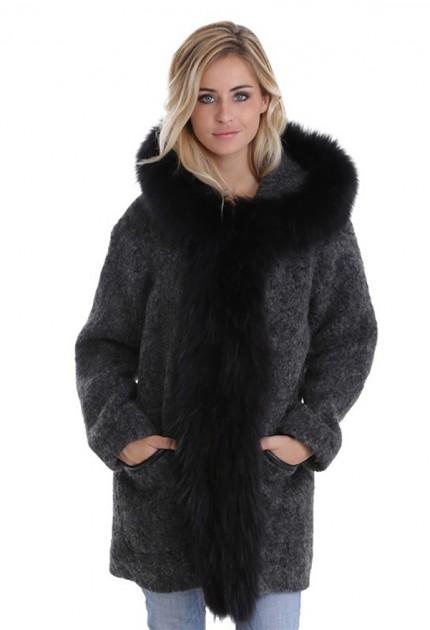 Manteau en mohair femme Oakwood Barcelona Gris