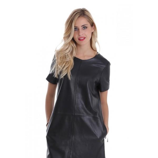 robe cuir femme oakwood vanina noire. Black Bedroom Furniture Sets. Home Design Ideas