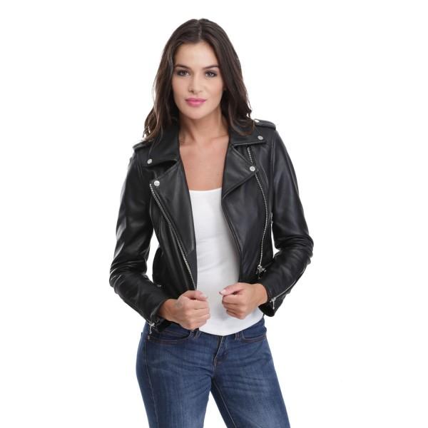 Veste cuir courte noir femme