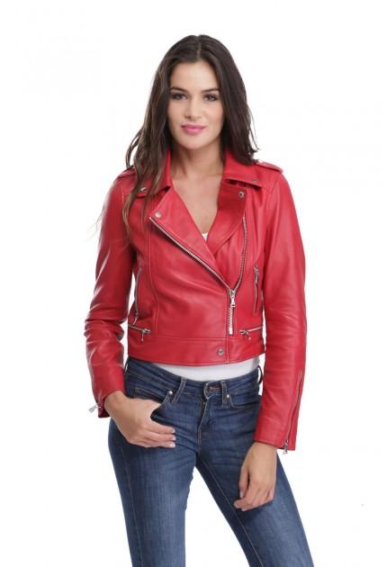 Blouson cuir femme Oakwood Yoko rouge