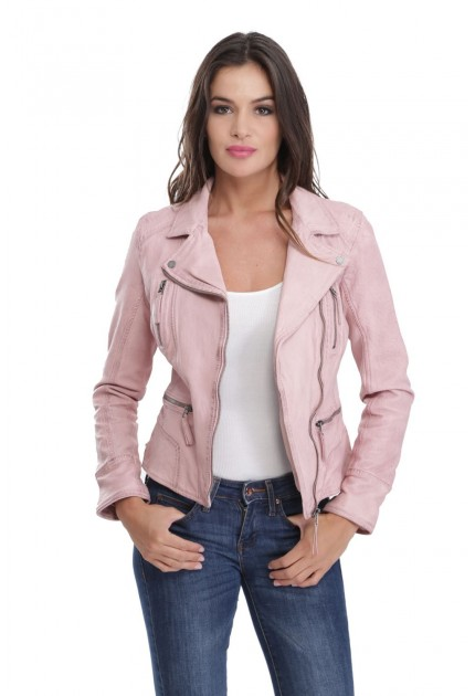 Blouson cuir femme Oakwood Camera Light Rose