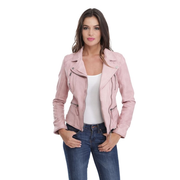 426448dc98 blouson cuir femme oakwood camera light rose