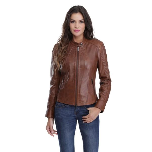 veste en cuir femme marron