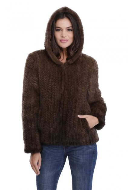 Veste en vison tricoté femme MonCuir Kirby marron