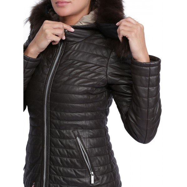 Blouson cuir femme Oakwood happy Marron