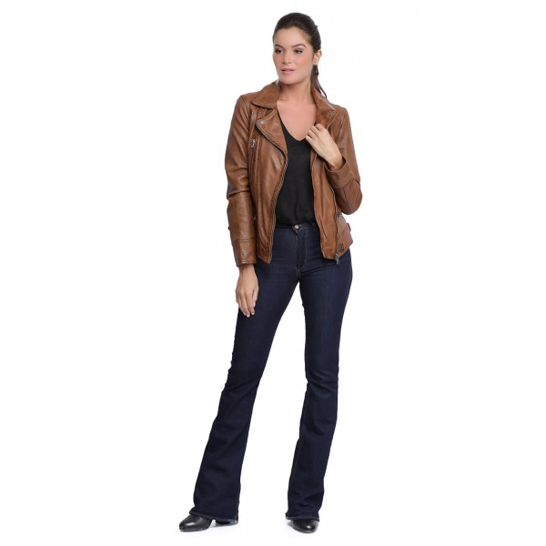 Blouson cuir femme Oakwood Video Cognac