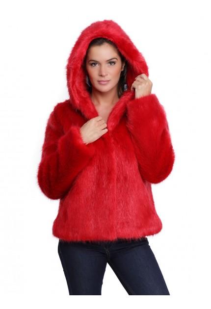 Veste capuche fausse fourrure femme oakwood Electro 62407 rouge