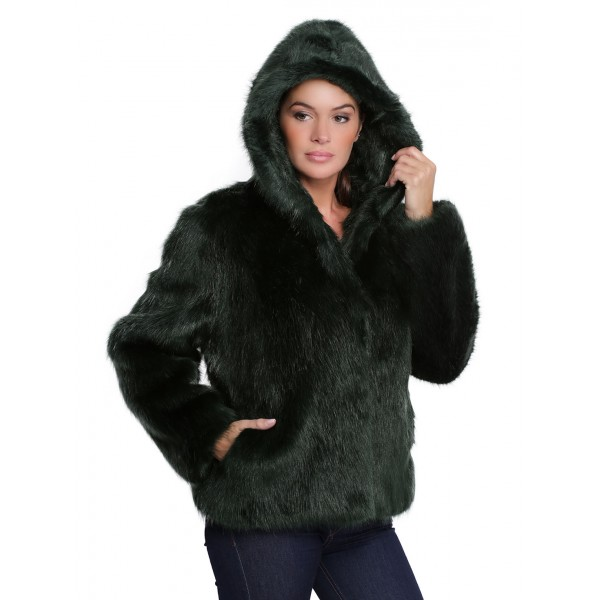 Veste capuche fausse fourrure femme oakwood Electro 62407 verte