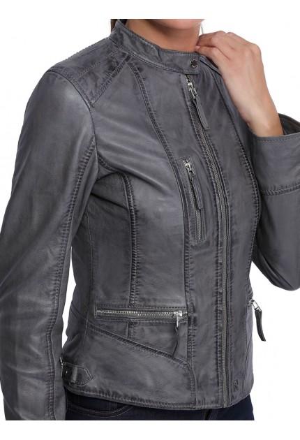 Blouson cuir femme Oakwood Each 62316 noir