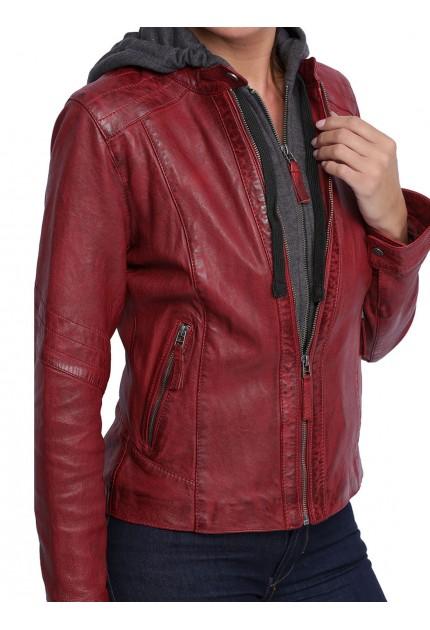 Blouson cuir femme Oakwood Debby 62600 rouge 509