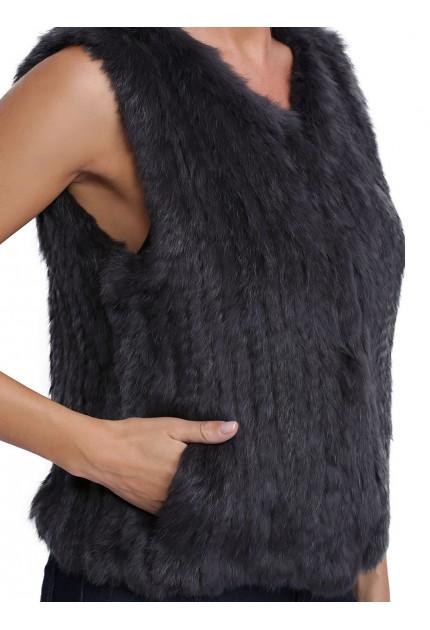 Gilet en fourrure pour femme oakwood Magali 62683 gris 530