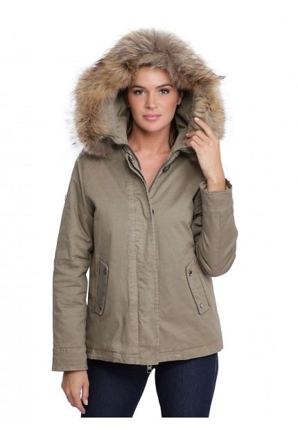 Parka avec capuche en fourrure femme oakwood Chiara light kaki 62381 naturel 556