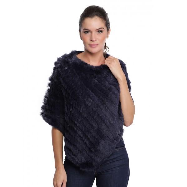 Poncho en fourrure Davos 56034 d'Oakwood Femme bleu foncé 537