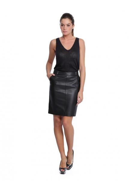 Jupe en cuir pour femme d'Oakwood Natty 62660 noir 501