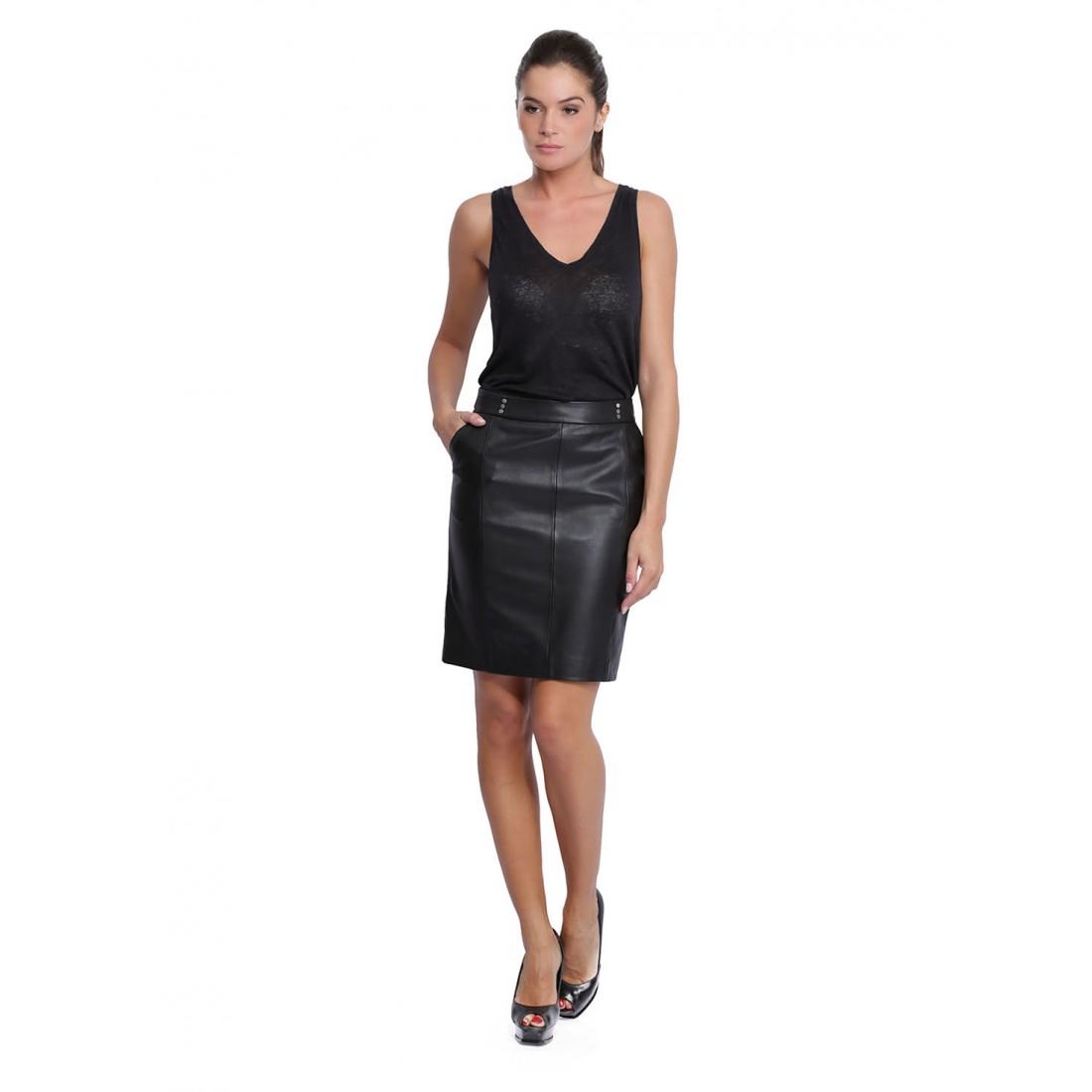 jupe en cuir pour femme d u0026 39 oakwood natty 62660 noir 501