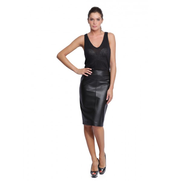 jupe en cuir pour femme d 39 oakwood natty 62660 noir 501. Black Bedroom Furniture Sets. Home Design Ideas