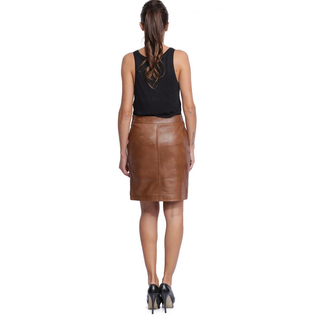 jupe en cuir pour femme de giovanni dora marron. Black Bedroom Furniture Sets. Home Design Ideas