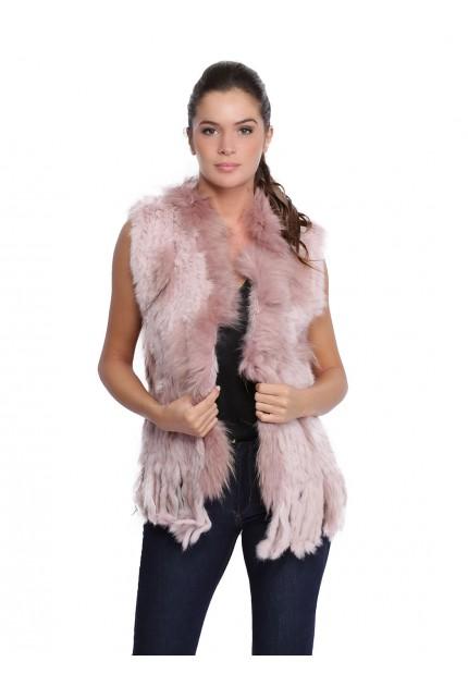 Gilet fourrure lapin et racoon femme MonCuir K250259-71 rose