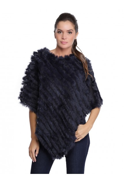 Poncho lapin femme MonCuir gilet K250284-29 bleu marine