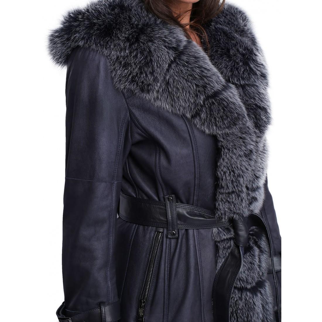 Manteau capuche fourrure femme Giovanni Oty short bleu marine