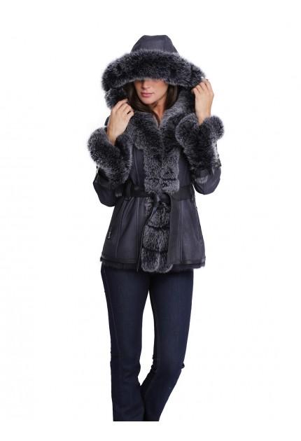 Manteau en fourrure à capuche pour femme Giovanni One court bleu marine