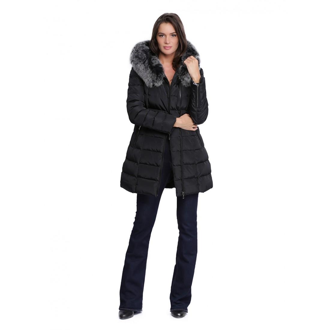 Manteau capuche fourrure femme Giovanni Dely noir