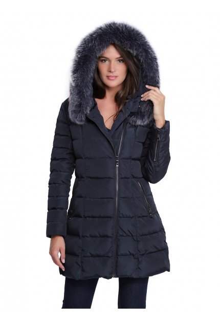 Manteau en fourrure à capuche pour femme Giovanni Dely bleu marine