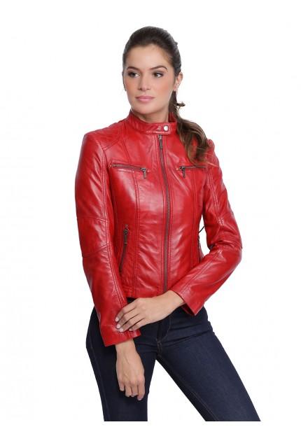 Blouson cuir femme Melodie rouge