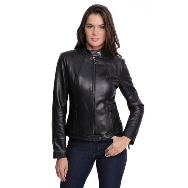 Veste en cuir femme en noir