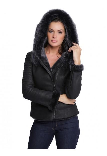 Veste en cuir avec capuche en fourrure pour femme  Birky noir
