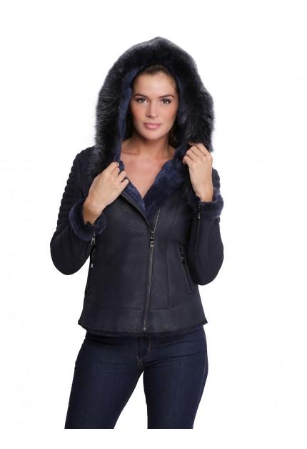 Veste en cuir avec capuche en fourrure pour femme Birky bleu marine