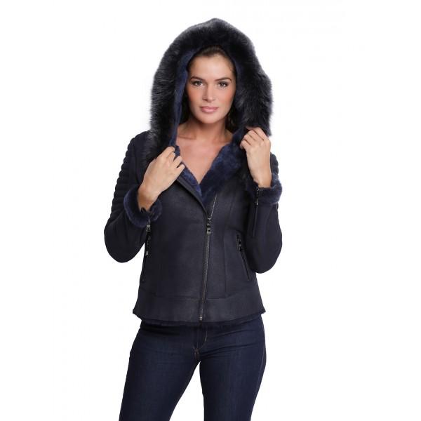 détaillant en ligne 23b39 2a9e2 Veste en cuir avec capuche en fourrure pour femme Birky bleu marine