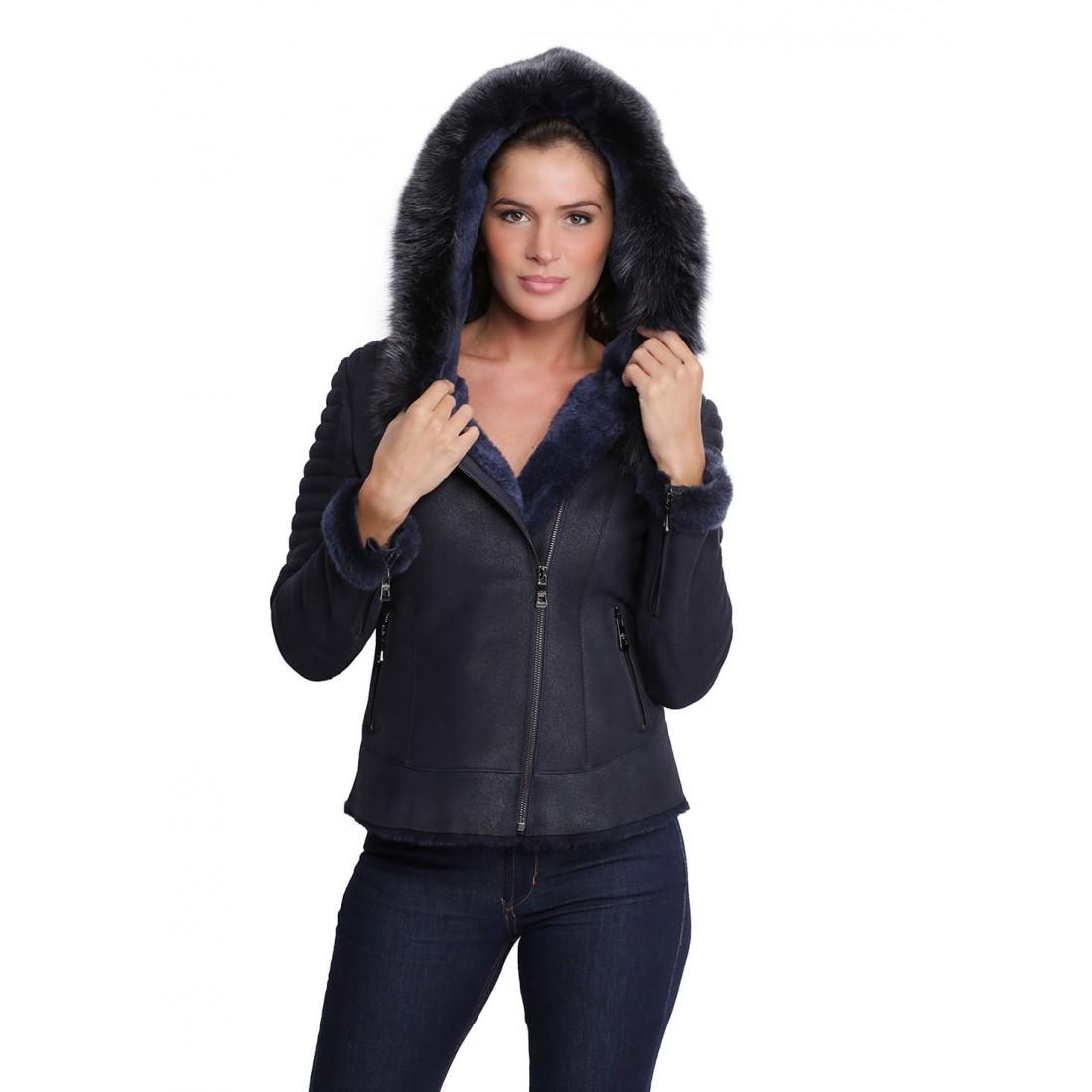 Veste longue en cuir pour femme