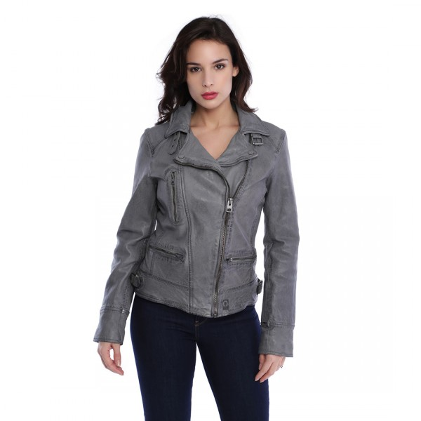 Blouson cuir femme Oakwood Video Blanc