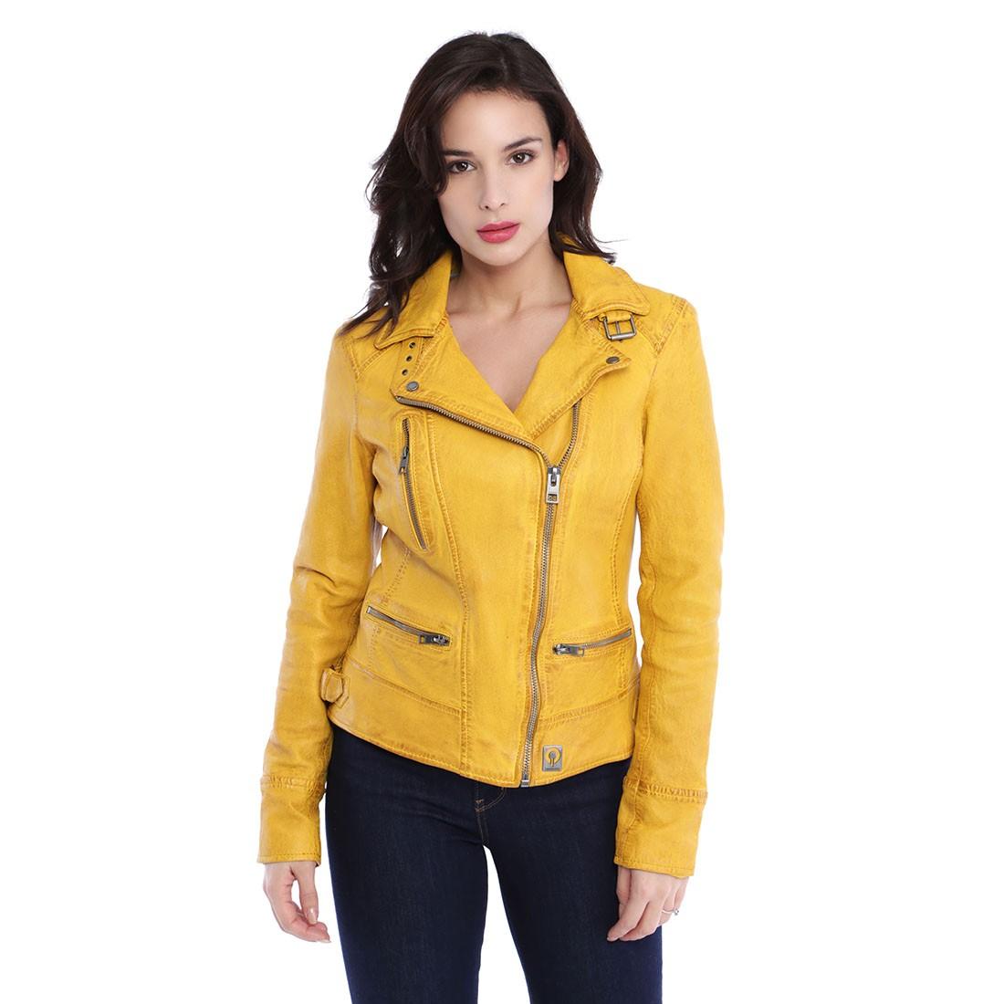 Blouson cuir oakwood femme jaune