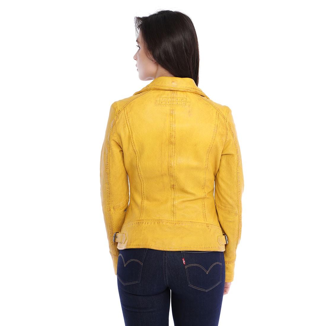 Blouson cuir jaune femme