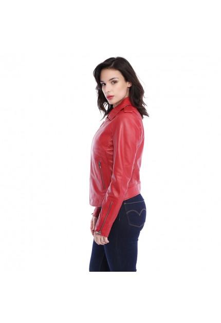 Blouson cuir femme Oakwood Nevada 62325 rouge