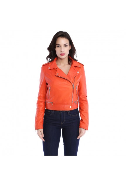 Blouson cuir femme Oakwood Yoko 62326 orange