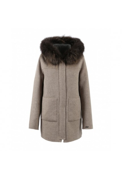 MANTEAU LONG EN LAINE RÉVERSIBLE YUCATAN OAKWOOD BEIGE/GRIS
