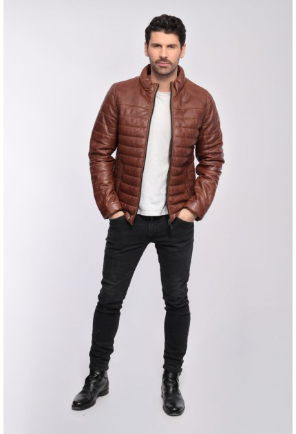 Blouson cuir doudoune homme Oakwood Footloose cognac 507
