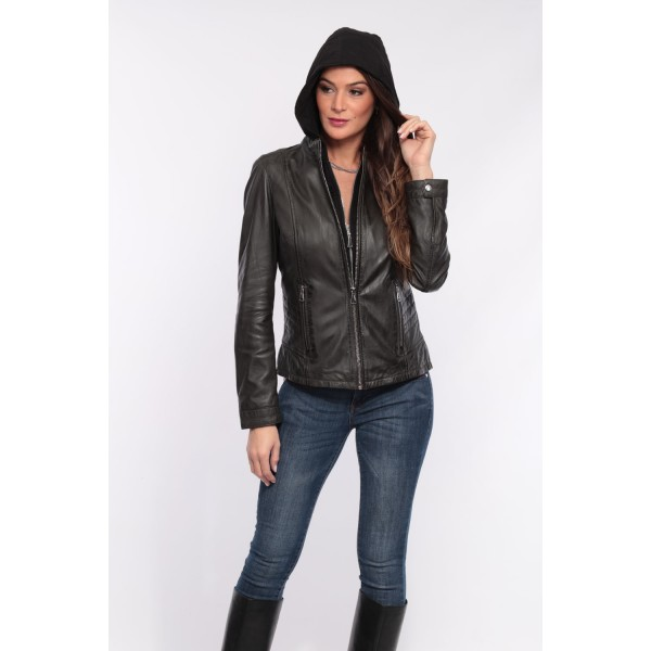 Blouson cuir femme Oakwood Other anthracite 530